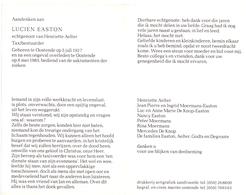Devotie - Devotion - Doodsprentje Overlijden - Taxichauffeur Lucien Easton - Oostende 1927 - Ongeval 1983 - Faire-part