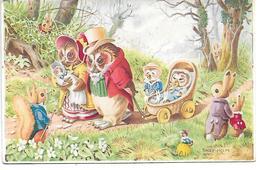 Illustrator - Racey Helps - Owl Family, Eule Familie, Chouette, Hibou, Squirrel, Rabbit, Lapin, Landau, Pram - Animaux Habillés