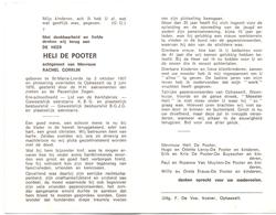 Devotie - Doodsprentje Overlijden - Ere Schoolhoofd Heli De Pooter - St Maria Lierde 1907 - Ophasselt 1976 - Faire-part
