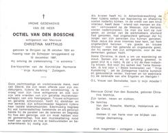 Devotie - Doodsprentje Overlijden - Ere Voorzitter Harmonie Zottegem Octiel Van Den Bossche - Strijpen 1924 - 1987 - Faire-part
