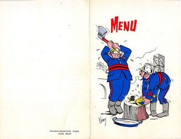 POMPIERS 2 Menus Humoristiques 1978. Excellent état. Format Fermés: 12/19 Cm. Signés D. LORDEY - Menus