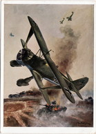 """Propaganda Karte ,  Flieger """"  Henschel Stuka Hs 123 """" - 1939-1945: 2. Weltkrieg"""