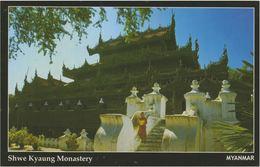 Myanmar 2018 Landscape/Views Postcard — Shwe Kyaung Monastery (beautiful Stamp And Special Postmark At Back) - Myanmar (Burma)