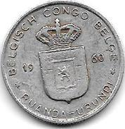Belgian Congo Ruanda-urundi  1 Franc 1960  Km 4 - Congo (Belge) & Ruanda-Urundi