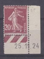 France Année 1906 Type Semeuse Fond Plein Sans Sol  N° 137* 20 C Brun Rouge Coin Daté 25.1.24 Lot 1156 - 1906-38 Semeuse Camée