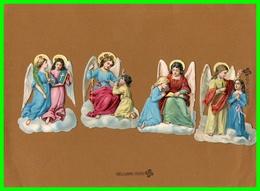 Quatre Chromos Découpis Gauffrés - ANGES (recto Verso) - Anges