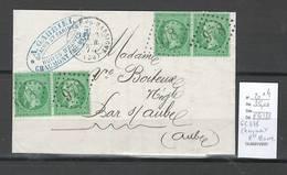 France - Lettre De Chaumont En Bassigny - Haute Marne -Yvert 20 - 2 Paires -1871 - Postmark Collection (Covers)