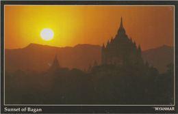 Myanmar 2018 Landscape/Views Postcard — Sunset Of Bagan (beautiful Stamp And Special Postmark At Back) - Myanmar (Burma)