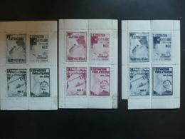 Vignette Exposition Philatélique Nice 1932 3 Blocs - Erinnophilie