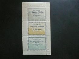Vignette Exposition Philatélique Grasse 1932 Bloc De 3 - Erinnophilie