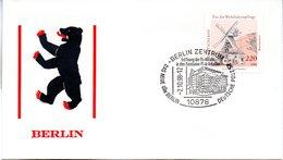 """(BT-3) BRD Sonder-Umschlag """"Berlin - Berliner Bär"""" EF BRD Mi 1952 SSt. 2.10.1998 BERLIN ZENTRUM - Briefe U. Dokumente"""