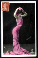 CPA-PHOTO ANCIENNE DE  H. MANUEL- PARIS- JEUNE FEMME EN ROBE ROUGE STYLE 1900- GROS PLAN - Frauen