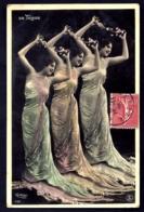 CPA-PHOTO ANCIENNE DE REUTLINGER- FRANCE- JEUNE FEMME ARTISTE DE TOLEDO DUPLIQUÉE EN TROIS ! STYLE 1900 - Frauen