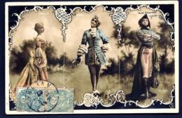 LOT 2 CPA ANCIENNE TRIPTYQUES PHOTOS DE REUTLINGER-PARIS- 6 FEMMES EN COSTUMES ANCIENS- TRES BEAU DÉCOR- 2 SCANS - Oper