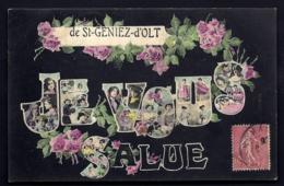 CPA ANCIENNE FRANCE- CARTE SOUVENIR DE ST-GENIEZ-D'OLT (12) JE VOUS SALUE- GROSSES LETTRES DECOR FEMMES ET ROSES- - Gruss Aus.../ Grüsse Aus...