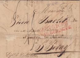 LETTRE. 8 AVRIL 1826. VIENNE POUR St PERAY ARDECHE . ENTREE AUTRICHE/HUNINGE. TAXE PLUME 15. COPIE 2 LETTRES FRANKFORT - Storia Postale