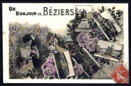 CPA ANCIENNE FRANCE- CARTE SOUVENIR DE BÉZIERS- UN BONJOUR DE BEZIERS- VUES MULTIPLES- BITTEROISE- FLEURS- - Gruss Aus.../ Grüsse Aus...