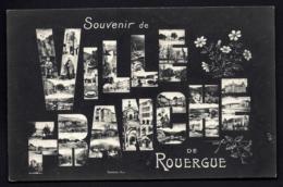 CPA ANCIENNE FRANCE- CARTE SOUVENIR DE VILLEFRANCHE-DE-ROUERGUE (12) GROSSES LETTRES FOND NOIR- VUES MULTIPLES - Gruss Aus.../ Grüsse Aus...