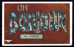 CPA ANCIENNE FRANCE- CARTE SOUVENIR- UN BONJOUR DU VIBAL (12)- GROSSES LETTRES DECOR DE FEMMES SUR FOND ORANGÉ - Gruss Aus.../ Grüsse Aus...