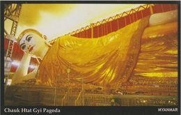 Myanmar 2018 Landscape/Views Postcard — Chauk Htat Gyi Pagoda (beautiful Stamp And Special Postmark At Back) - Myanmar (Burma)