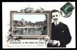 CPA ANCIENNE FRANCE- CARTE SOUVENIR D'ESPALION (12) ENVOI DE FLEURS- CADRE AVEC VUE DU PONT- HOMME- - Gruss Aus.../ Grüsse Aus...