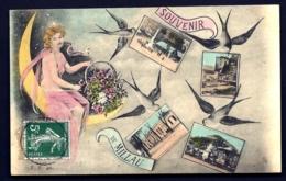 CPA ANCIENNE FRANCE- CARTE SOUVENIR DE MILLAU (12)- VUES MULTIPLES- HIRONDELLES- JEUNE FEMME SUR LA LUNE - Gruss Aus.../ Grüsse Aus...