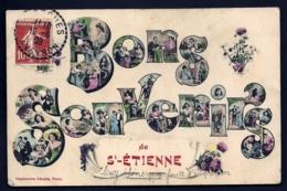 CPA ANCIENNE FRANCE- CARTE SOUVENIR DE ST-ETIENNE- BONS SOUVENIRS- GROSSES LETTRES DECOR DE FEMMES ET FLEURS- - Gruss Aus.../ Grüsse Aus...