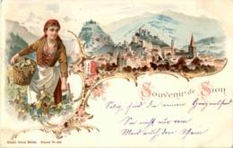 Gruss Aus Sion - Litho - VS Valais