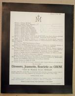 Faire-part Décès Eléonore De COUNE Veuve Julien DESSAIN. - Liège, 1924. - Décès