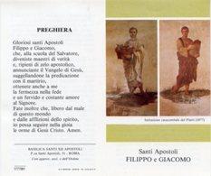 Roma - Santino Depliant SANTI APOSTOLI FILIPPO E GIACOMO Basilica Santi XII Apostoli - PERFETTO P84 - Religione & Esoterismo