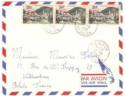 CFA 1956 N°310x3 (=6F) Sur L Obl TAMPON 27/6/56 - Réunion (1852-1975)