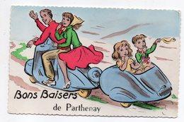 """PARTHENAY -- """"Bons Baisers De Parthenay """"  Illustrateur ????--Scooter (animée)  ...pas Très Courante - Parthenay"""