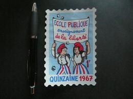 Vignette à Coller Sur Le Pare Brise Jean Effel 1967 école Publique - Erinnophilie