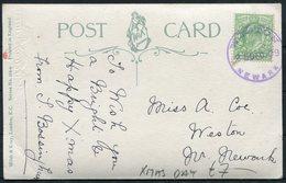 1909 GB Postcard. 25th December, Christmas Day. Weston Newark Skeleton Postmark - 1902-1951 (Rois)
