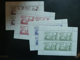 Vignette Metz 1938 Exposition Philatélique 4 Blocs De 4 - Erinnophilie