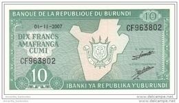 BURUNDI 10 FRANCS 2007 P-33e UNC [BI214l] - Burundi