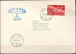 Schweiz Suisse 1946: Pro Aero Zu F41 Mi 470 Yv PA 40 Auf Brief Von LAUSANNE 22.V.46 Nach LOCARNO (Zu CHF 65.00) - Posta Aerea