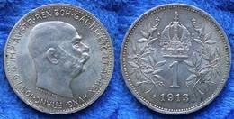 AUSTRO-HUNGARIAN EMPIRE - Silver Corona 1913 KM# 2820 Franz Joseph I - Edelweiss Coins - Autriche