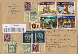 Ukraine Kiew R-Brief Mi. 1620 + 1621 Watten + Mi. 1671 - 1674 Cartoons + Zd Ukrain. Briefmarken ... - Ukraine