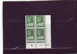 N° 1814 - 0,60 F BEQUET - 1 PHO - C De C+D - 1° Tirage/1° Partie -10.9.74 - Jour Unique - - 1970-1979