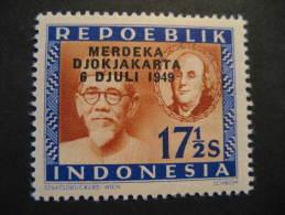 17 1/2s Merdeka Djokjakarta 1949 Overprinted USA Pr INDONESIA Poster Stamp Label Vignette Viñeta Cinderella Fisca - Indonésie
