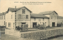 43 - ARVANT - ATTELAGES - SOCIETE DES EAUX MINERALES DE CLEMENSAT ET DE SAINT GERON - EN FACE GARE D' ARVANT - Frankrijk