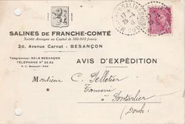 Carte Commerciale  1941 / Salines De Franche-Comté / 25 Besançon / Cachet Pointillé Miserey Salines - Cartes