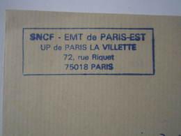 Lettre SNCF Oblitération Cachet EMT De PARIS-EST UP De PARIS La VILLETTE - Chemin De Fer