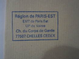 Lettre SNCF Oblitération Cachet Région PARIS EST EMT De Paris Est - UP De VAIRES - Chemin De Fer
