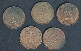 Tschechoslowakei, Lot 50 Haleru 1963-1971, 5 Different Dates - Tschechoslowakei