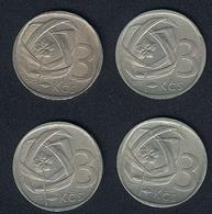 Tschechoslowakei, Lot 3 Korun 1965, 1966, 1968, 1969 - Tschechoslowakei