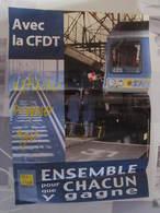 Affiche Poster SNCF Fgte Cfdt Cheminot Avec La CFDT Réfléchir Proposer Agir 41,5 X 29,5 Cm Environs (2 Pliures Coins) - Chemin De Fer
