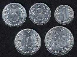 Tschechoslowakei, Lot 1+3+5+10+25 Haler(u), UNC - Tschechoslowakei