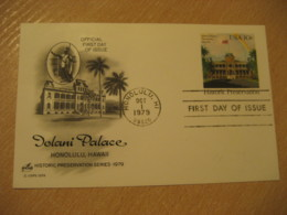 HONOLULU 1979 Iolani Palace HAWAII Fdc Cancel Postal Stationery Card USA - Hawaï